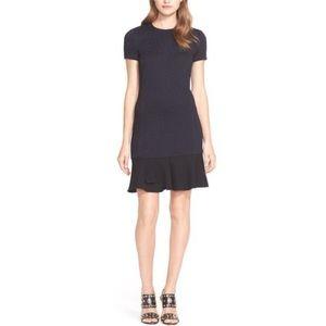 TORY BURCH Textured Dress Short Sleeve Flounce